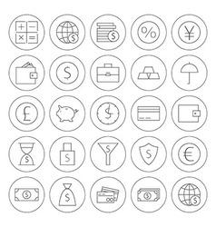 Line Circle Money Finance Banking Icons Set vector image