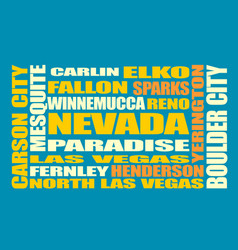 nevada state cities list vector image