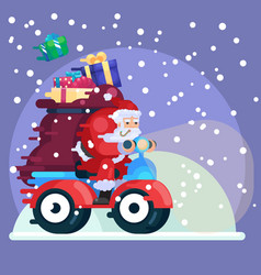 santa claus with presents on scooter new year vector image