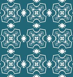 Seamless ornate pattern in white on blue vector image vector image