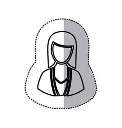 sticker monochrome half body silhouette woman vector image vector image