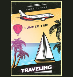 vintage colored traveling poster vector image vector image