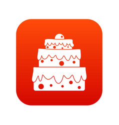 big cake icon digital red vector image