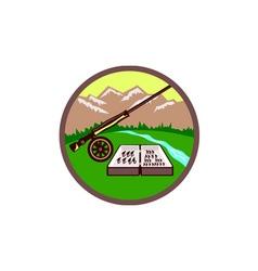 Fly Box Rod Mountains Circle Retro vector image vector image