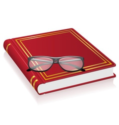 red book and glasses vector image vector image