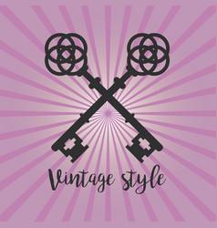 vintage crossed keys on purple background vector image vector image