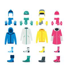 cartoon color winter clothes icon set vector image