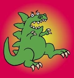 cute green screaming cartoon dino vector image