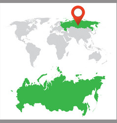 detailed map of russia and world map navigation vector image