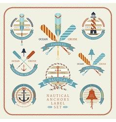 Nautical anchors label set 02 vector