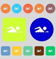 Swimming sign icon Pool swim symbol Sea wave 12 vector image vector image