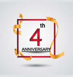 4 anniversary design with red color in square vector