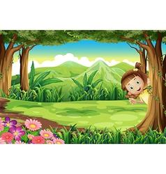 A girl hiding at the jungle vector