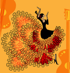 Abstract red-yellow music of flamenco vector