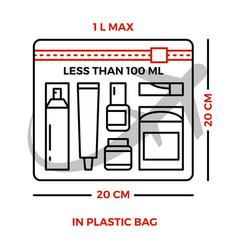 Airport rules for liquids on luggage - line vector