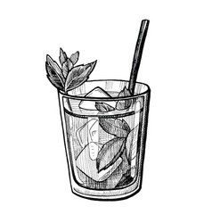 Alcohol cocktail hand drawn vector