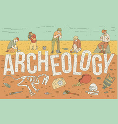 Archaeological exploration historical artifacts vector