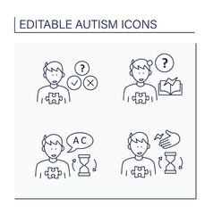 Autism spectrum disorder line icons set vector