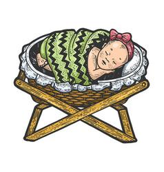 Basleeps in cradle sketch engraving vector