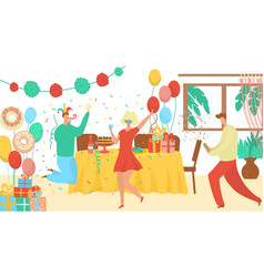 Birthday party event agency offer flat vector