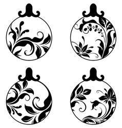 black and white xmas balls vector image