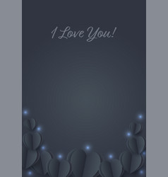 black hearts with blue lighting paper flying vector image