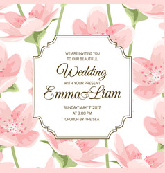 Blooming pink sakura magnolia invitation card vector