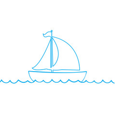 blue outline silhouette of sailing ship on white vector image