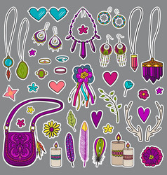 Bohemian girly set of stickers vector