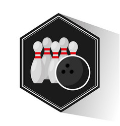 Bowling sport emblem icon vector