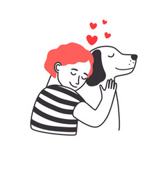 Boy and dog friendship vector