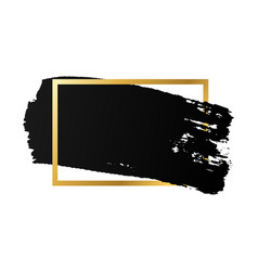 Brush stroke gold text box isolated white vector