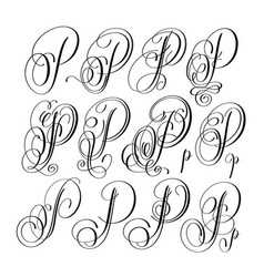 Calligraphy lettering script font p set hand vector