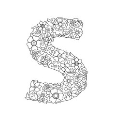 Capital letter s patterned with abstract flowers vector
