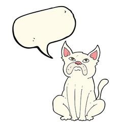 Cartoon grumpy little dog with speech bubble vector