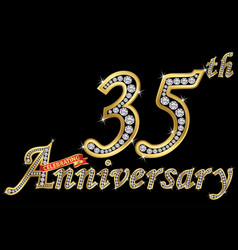 celebrating 35th anniversary golden sign with vector image
