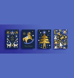 christmas nordic folk gold luxury animal card set vector image