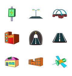 city construction icons set cartoon style vector image