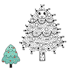 Connect dots ands draw a funny christmas tree vector