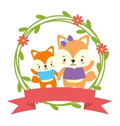 Cute couple fox animals wreath flowers vector