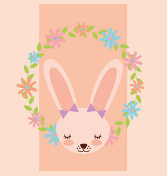 cute female rabbit flowers decoration vector image