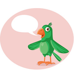 cute green parrot with speech bubble cartoon vector image