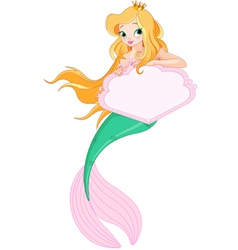 Cute Mermaid holding sign vector image