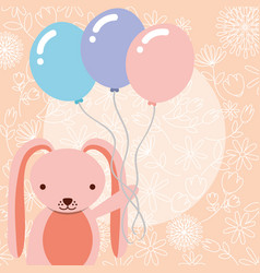cute pink rabbit holding balloons party vector image