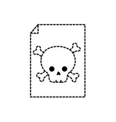 Dotted shape danger skull bones alert inside paper vector