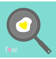 Egg in shape of heart on the frying pan vector image