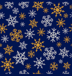Elegant winter snowflakes navy blue pattern vector