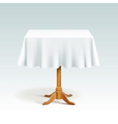 Empty Square Wood Table with Tablecloth vector