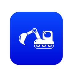 Excavator icon blue vector