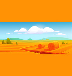farm landscape with hay bales on agriculture field vector image